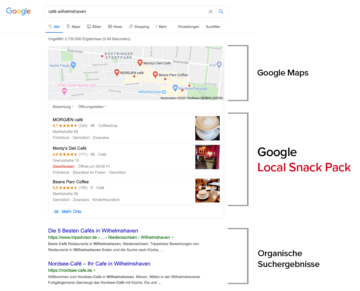 Google Local Snack Pack